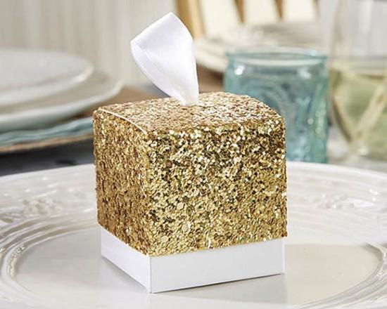 Bomboniera matrimonio scatolina oro glitter