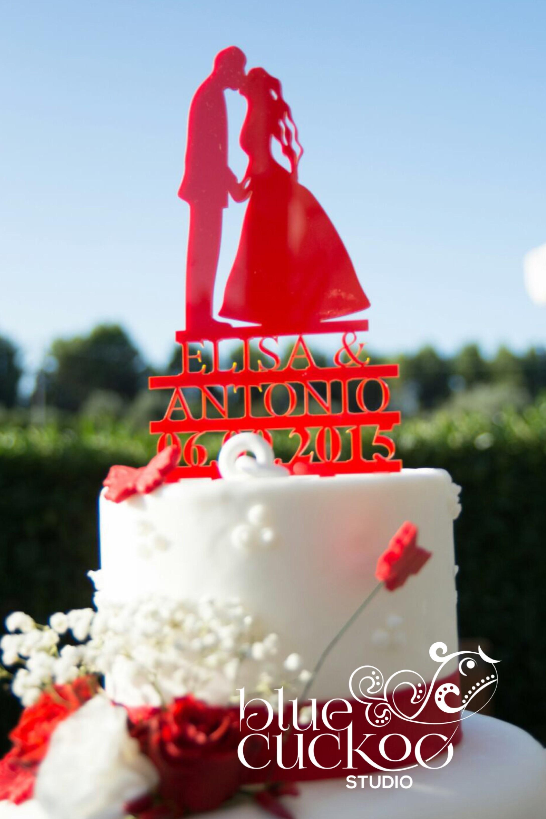 cake topper con silhouette con scritta