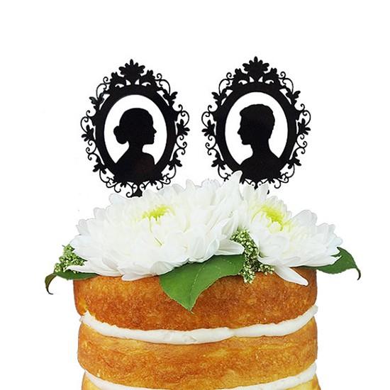 Cake topper matrimonio silhouette