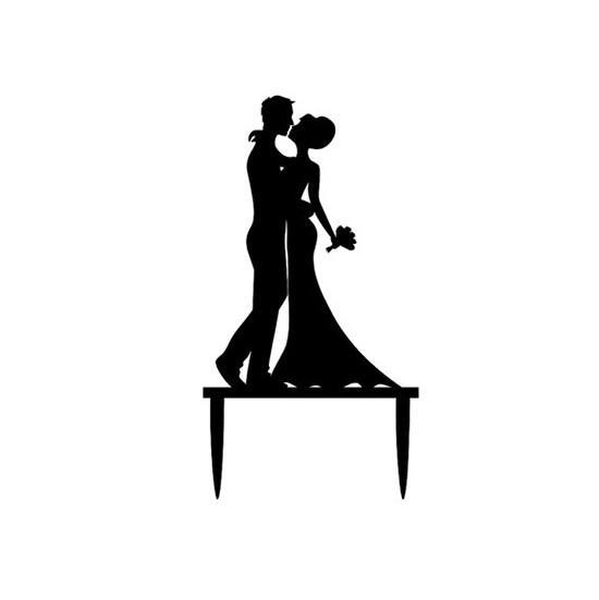 Cake topper matrimonio sposi silhouette