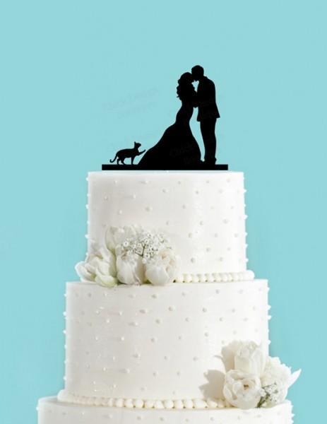 Cake topper matrimonio sposi e gatto