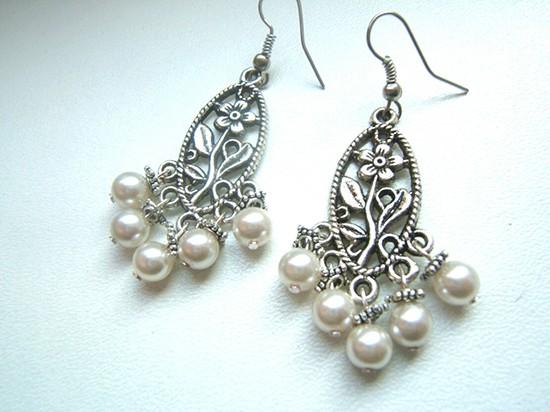 Orecchini sposa pendenti argento e perle