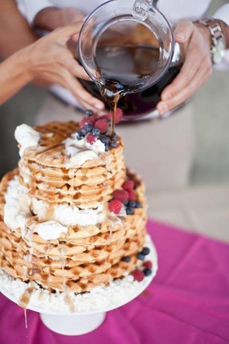 Torta matrimonio a piani waffles