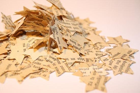 Coriandoli per matrimonio a forma di stella con pagine libro