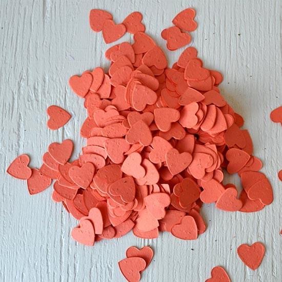 Coriandoli per matrimonio a forma di cuore con semi