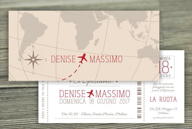 Partecipazioni viaggio con aereo e cartina