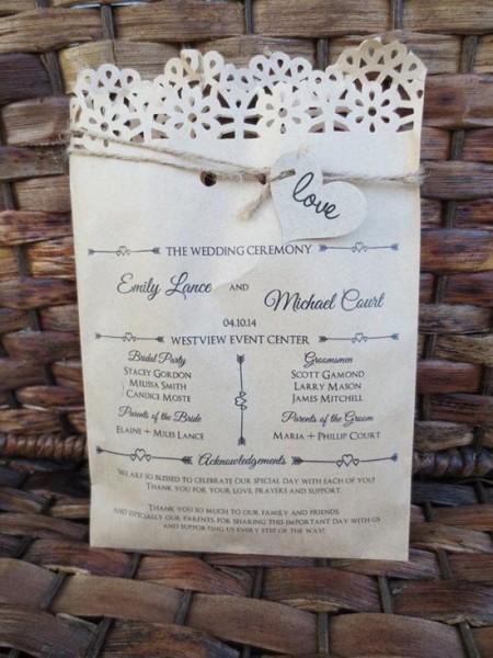 Programma cerimonia stampato su sacchetto con coriandoli