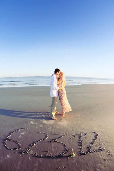 Save the date foto scritta sabbia