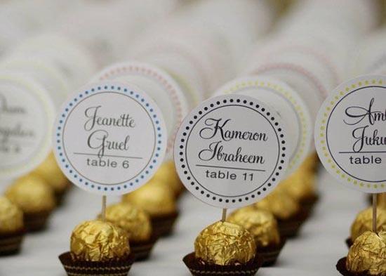 Tableau matrimonio cioccolato escort card ferrero rocher