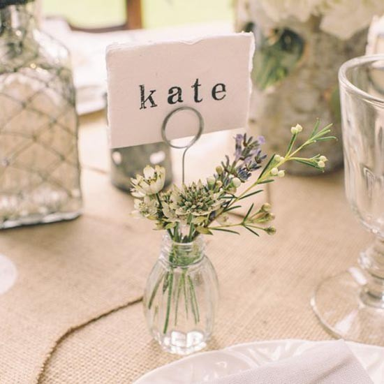 Segnaposto matrimonio eco-friendly fiori campo