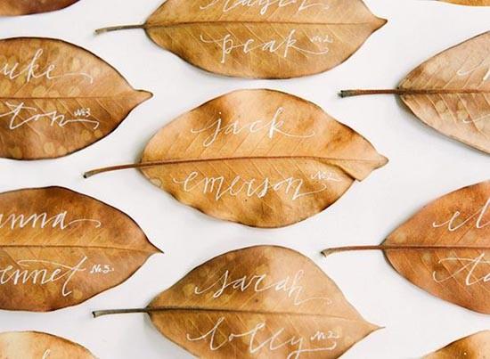Segnaposto matrimonio eco-friendly foglie