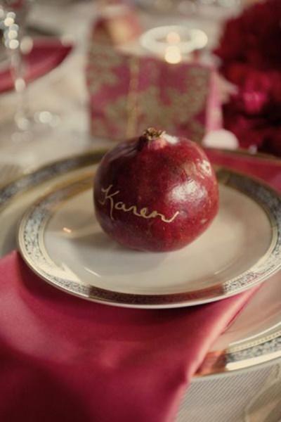 Segnaposto matrimonio eco-friendly frutto melograno