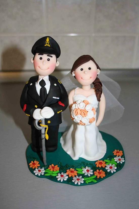 Cake topper matrimonio sposini con carabiniere