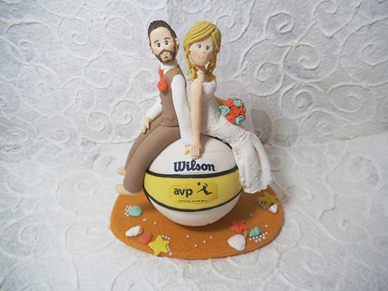 Cake topper matrimonio personalizzato a tema pallavolo