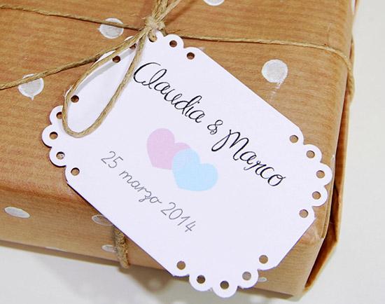 Tag chiudipacco per bomboniera matrimonio in stile shabby chic