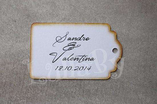 Tag chiudipacco per bomboniera matrimonio in stile vintage