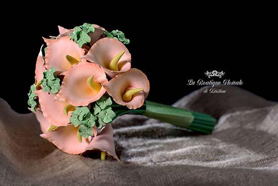 Bouquet sposa con calle e ortensie