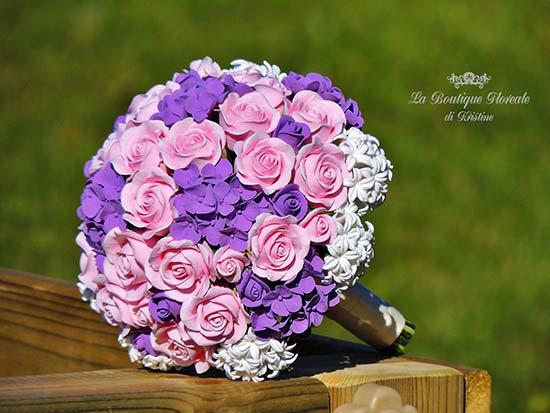 Bouquet sposa rosa e viola con ortensie rose e giacinto