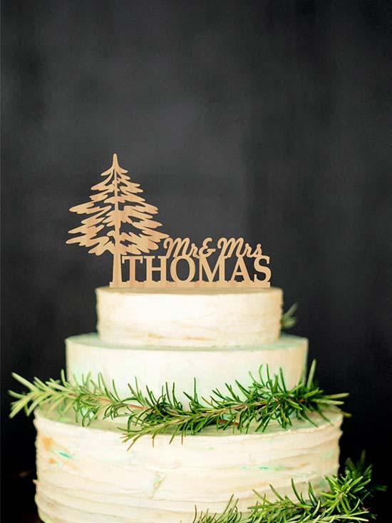 matrimonio invernale cake topper legno