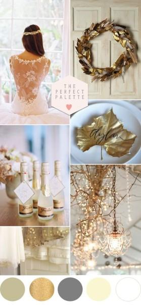 palette colori matrimonio invernale oro