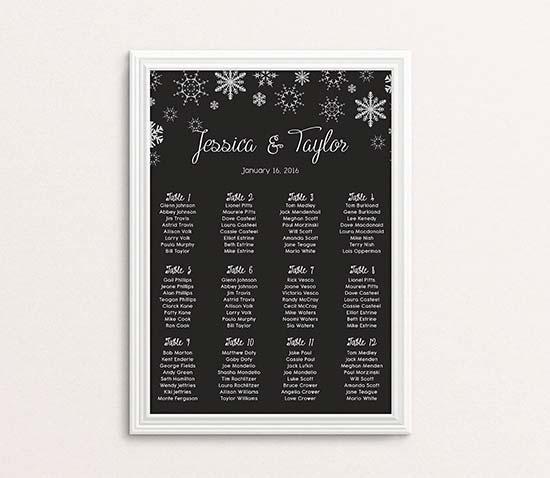matrimonio invernale tableau lavagna neve