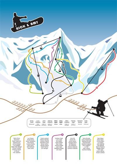 matrimonio inverno tableau sci snowboard neve