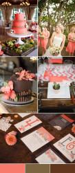Palette colori matrimonio 2016 peach echo e marrone cioccolato