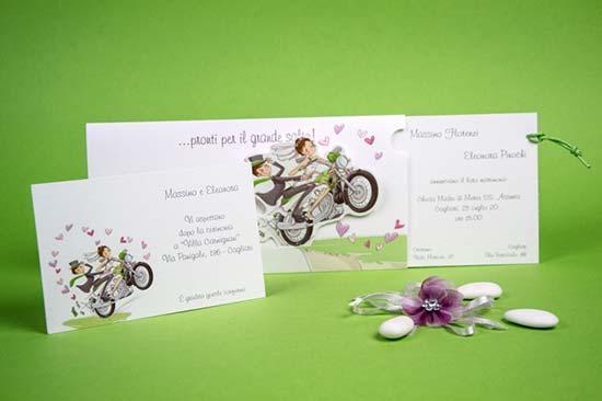 partecipazioni matrimonio divertenti sposi moto