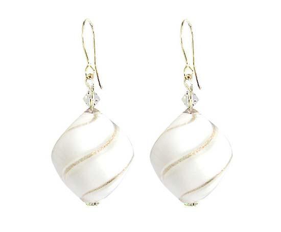 orecchini matrimonio pendenti bianchi oro vetro soffiato