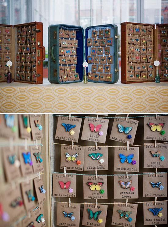 tableau farfalle escort card valigia