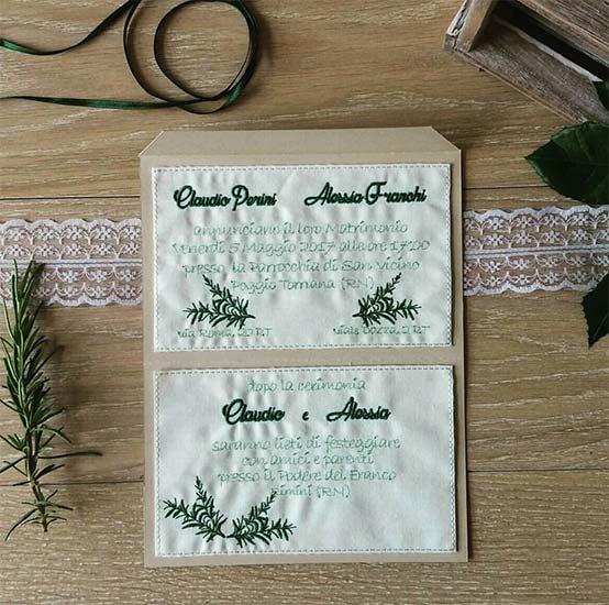 inviti di nozze rustici ricamati
