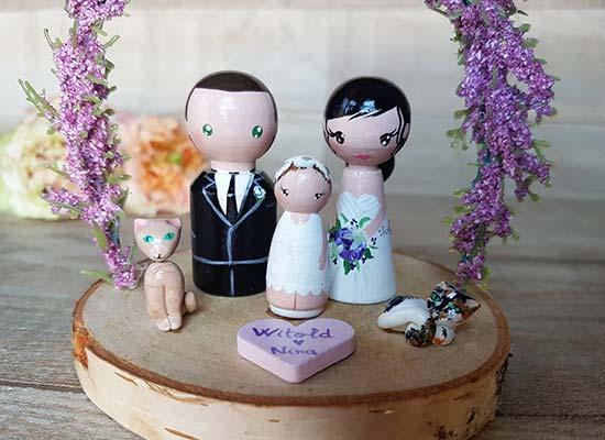 cake topper matrimonio con figli e gatti