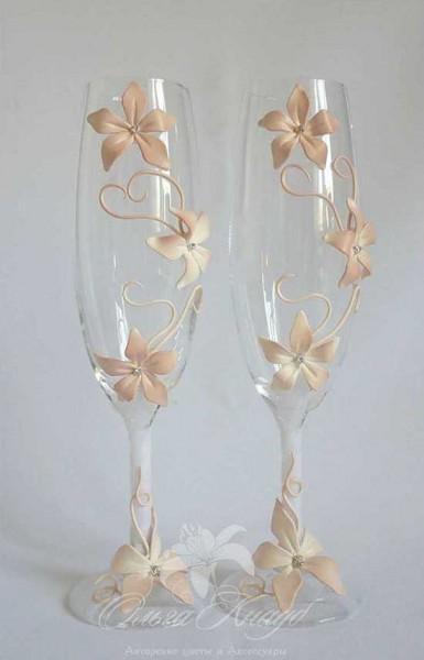 Bicchieri brindisi sposi decorati fiori