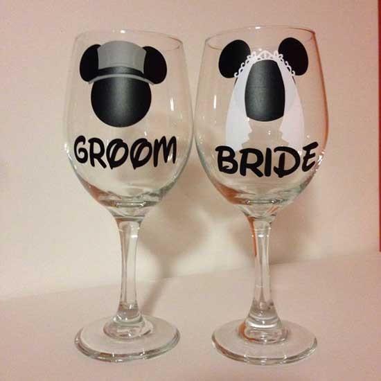 Bicchieri personalizzati brindisi sposi disney
