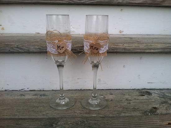 Bicchieri personalizzati brindisi sposi shabby
