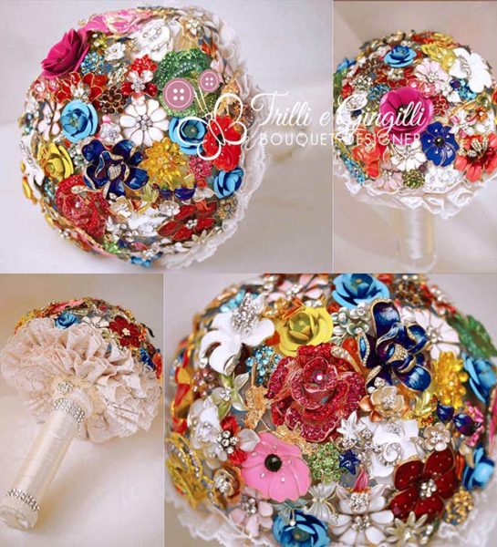 bouquet sposa gioiello con spille colorate