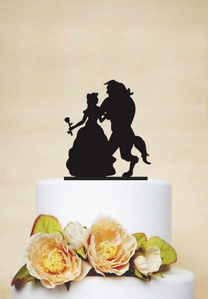 Cake topper matrimonio bella e bestia disney