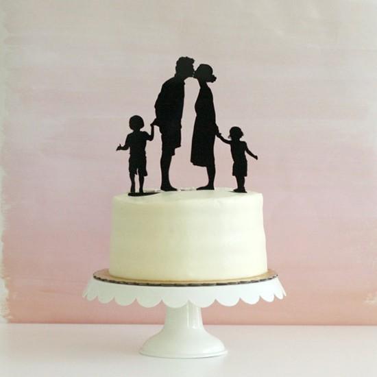 Cake topper matrimonio silhouette famiglia