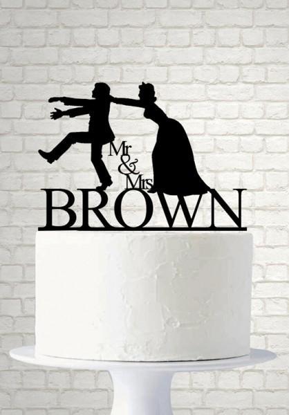 Cake topper matrimonio sposo scappa silhouette
