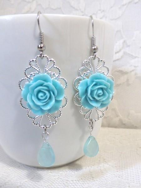 Orecchini sposa argento e rose colorate azzurre