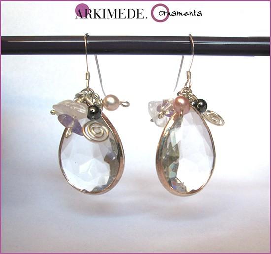 Orecchini sposa con cristalli e perle