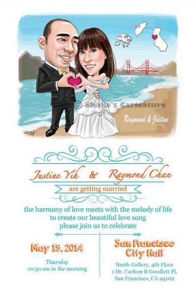 Partecipazioni ritratto caricatura sposi