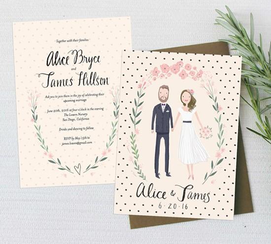 Partecipazioni ritratto illustrazione sposi