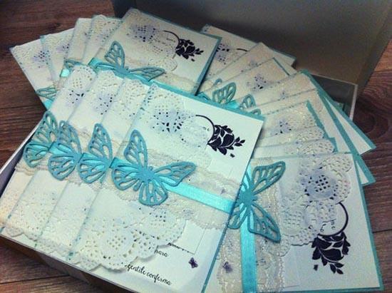 Partecipazioni shabby farfalla azzurra