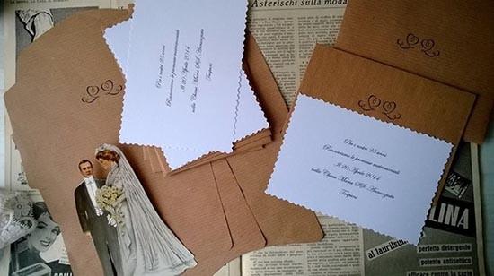 Partecipazioni vintage carta pacco