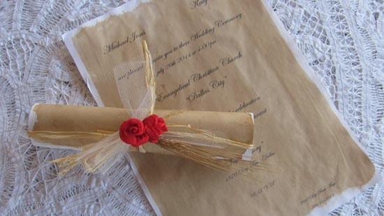 Partecipazioni vintage pergamena antica