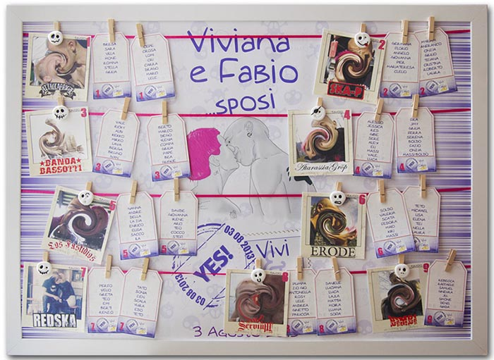 Tableau matrimonio mollette e tag