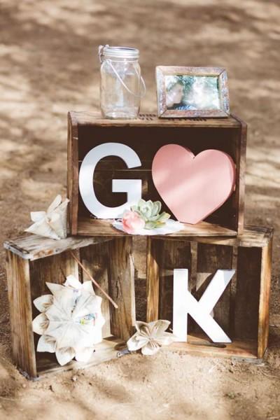 Allestimento matrimonio con lettere di legno giganti