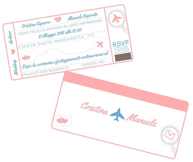 partecipazioni tema viaggio biglietto aereo