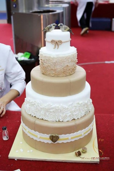 Torta matrimonio imbre shabby uccellini